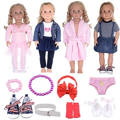 12 Packs 18 Inch Doll Clothes for American Girl Doll Accessories Handmade Ballet Outfits Denim Dresses Pajamas Clothes