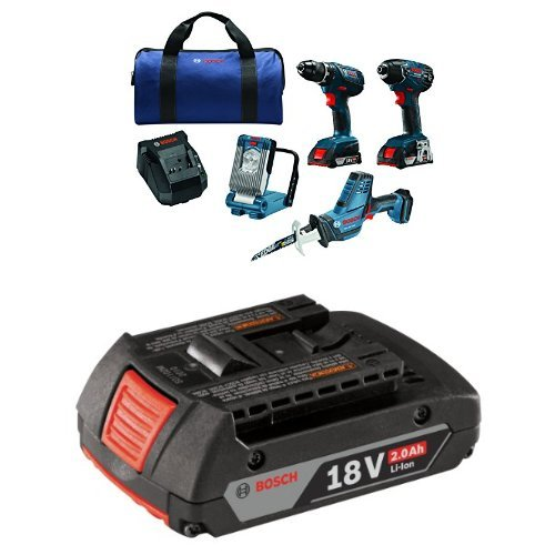 Bosch 18V Lithium-Ion 4-Tool Combo Kit with Compact Tough Drill Driver, Impact Driver, Compact Reciprocating Saw, LED Work Light ,2 Amp SlimPack Batteries with 2.0 AH battery