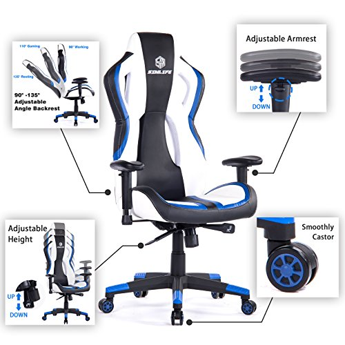 SimLife Executive Swivel Leather Gaming Racing Chair High-Back Office Computer Adjustable Desk Task Chair Blue/White by SimLife (Image #2)