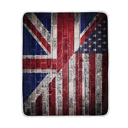 - ALAZA Home Decor Retro American Flag British Flag Star Soft Warm Blanket for Bed Couch Sofa Lightweight Travelling Camping 60 x 50 Inch Throw Size for Kids Boys Girls