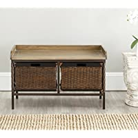Safavieh American Homes Collection Noah Antiqued Pewter and Oak Storage Bench