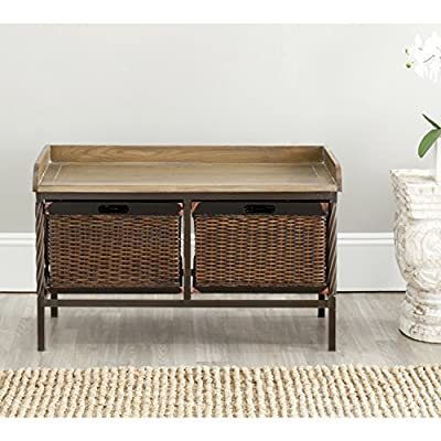 Safavieh American Homes Collection Noah Antiqued Pewter and Oak Storage Bench - The light ash finish of the bench seat and drawers and antiqued brushed pewter frame of this storage bench will create a perfect accent to your home This bench features two drawers, which each measure 14.4 inches wide by 14.8 inches deep by 9.8 inches tall. Crafted of solid elm wood and antiqued metal - entryway-furniture-decor, entryway-laundry-room, benches - 5102dCo0MbL. SS400  -