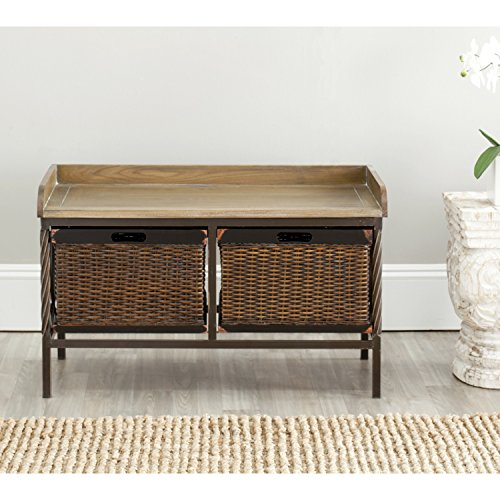 (Safavieh American Homes Collection Noah Antiqued Pewter and Oak Storage Bench)