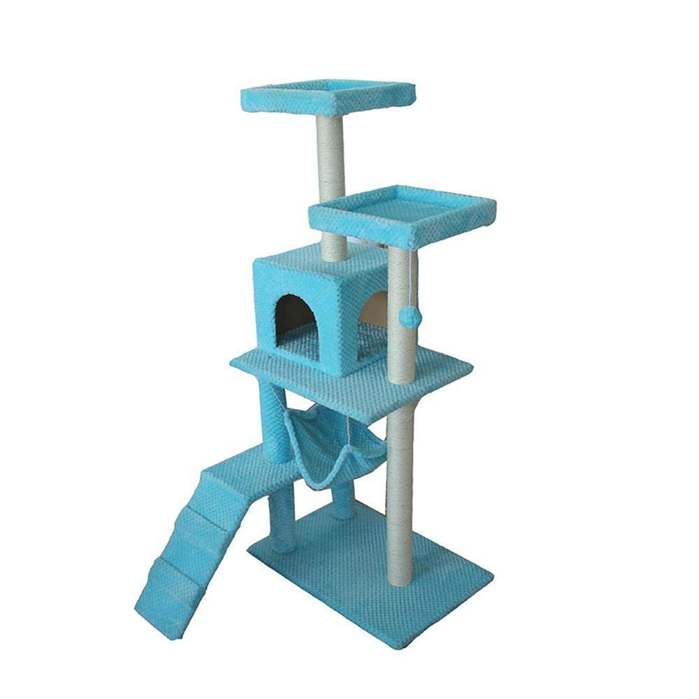 A Deluxe Multi Cat Tower Cat Play Towers Large cat Toy sisal Cat Scratch Board Solid Wood Platform Hammock 42  42  128cm (color   A)