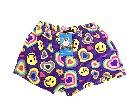 Confetti and Friends Fuzzy Plush Shorts - Purple Emoji and Hearts - 10/12 (Tall And Short Best Friends)