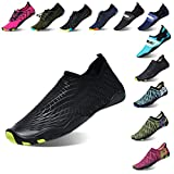 Lauwodun Womens and Mens Quick Dry Water Shoes Barefoot Aqua Sock Shoes for Beach Surfing Yoga Running Exercise-4black45