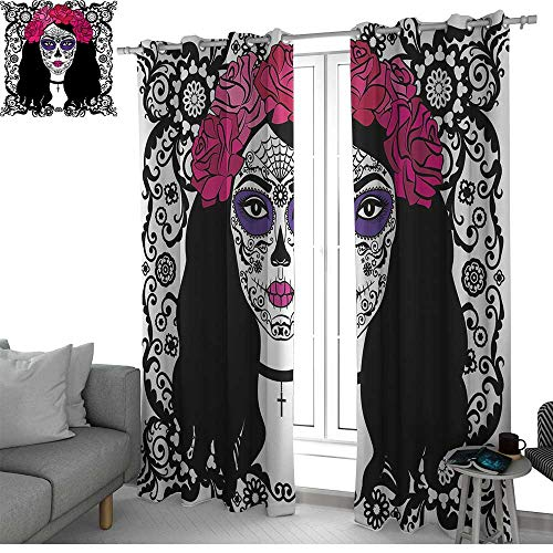 NUOMANAN Blackout Curtain Panels Window Draperies Sugar Skull Decor,Girl with Sugar Skull Make Up Dia De Los Muertos Traditional Art,Black White Pink,for Bedroom, Kitchen, Living Room 100