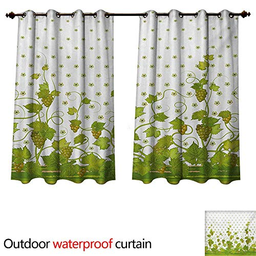 Drapes Kichler (WilliamsDecor Vineyard Outdoor Balcony Privacy Curtain Flowers Cluster Sherry Leaf Province Garden Retro Refreshing Tasty Countryside Rustic W55 x L72(140cm x 183cm))
