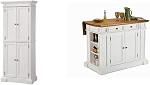 Americana White Pantry by Home Styles & ITE & Distressed Oak Kitchen Island by Home Styles