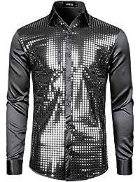 d15a0d8b7 Mens Dress Shirt Silver Sequins Long Sleeve Button Down 70s Disco Shirt  Party Costume