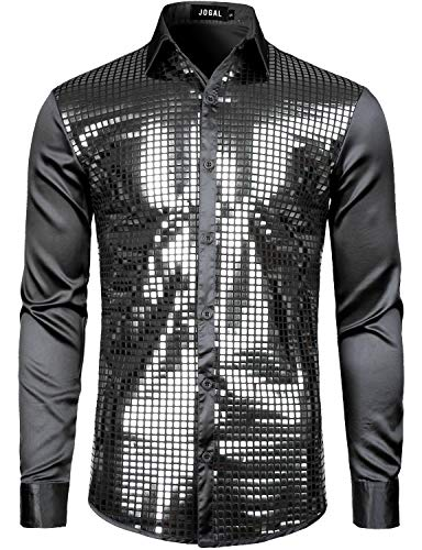 JOGAL Mens Dress Shirt Silver Sequins Long Sleeve Button Down 70s Disco Shirt Party Costume Large A348 Black ()