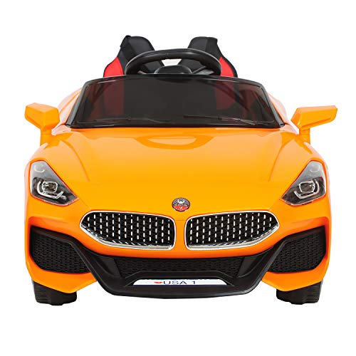 12V Ride On Car Parental Remote RC Cars for Kids Rechargeable Electric Vehicles Kiddie Ride Fun with 3 Speeds, Safety Lock/Belt, Leather Seat, LED Lights and Music/Story Player (Orange)