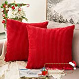 MIULEE Pack of 2, Corduroy Soft Soild Christmas Decorative Square Throw Pillow Covers Set Cushion Cases PillowCases for Sofa Bedroom Car 18 x 18 Inch 45 x 45 Cm
