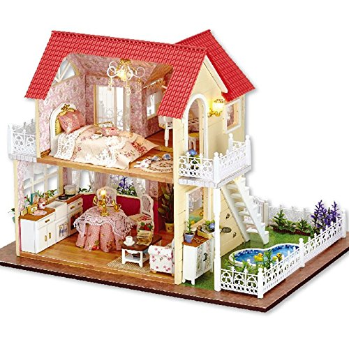Rylai Wooden Handmade Dollhouse Miniature DIY Kit – Princess Cottage Series Miniature Scene Wooden Dollhouses  Furniture/Parts(1:24 Scale Dollhouse)