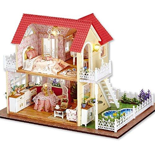 Rylai Wooden Handmade Dollhouse Miniature DIY Kit – Princess Cottage Series Miniature Scene Wooden Dollhouses  Furniture/Parts(1:24 Scale Dollhouse)