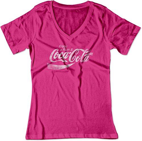 BSW Women's Enjoy Rum & Coca-Cola Coke Pop Soda Drink Booze V-Neck 3XL Raspberry