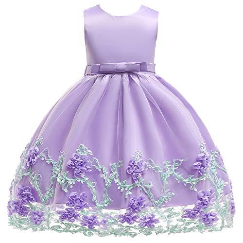 Party Dresses for Girls Wedding Sleeveless Flower Girl Dress Silk Chiffon Bow Tie Baby Tutu Lace Ball Gown Purple