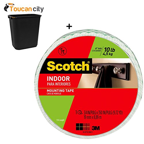 Toucan City 7 Gal Trash can and 3M Scotch 0.75 in. x 9.72 yds. Permanent Double Sided Indoor Mounting Tape (Case of 8) 110-LONGDC