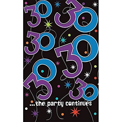 The Party Continuous 30th Birthday Party Table Cover , Multi , 54