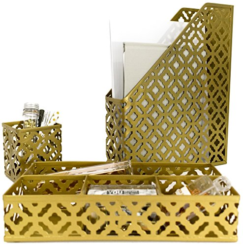 Blu Monaco Gold Desk Organizer for Women - 3 Piece Desk Accessories Set - Pen Cup, Magazine-File-Mail Holder, and Accessories Tray – Antique Gold Brass Finish