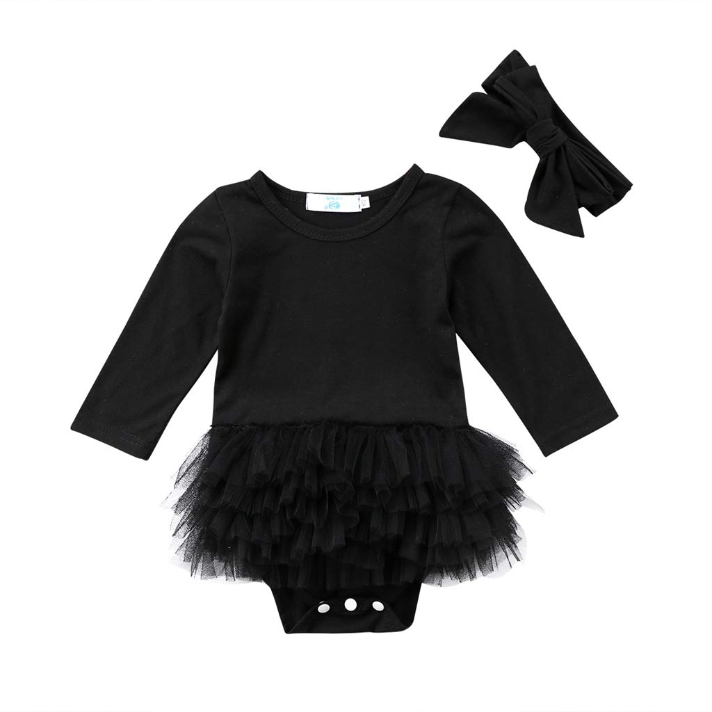 Cute Infant Girls Romper Black Lace Tutu Jumpsuit Outfit Clothes Baby Clothing for Newborn Baby