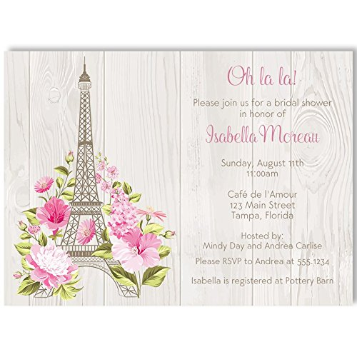 Green And Brown Wedding Invitations - Bridal Shower Invitations, Paris Love Story, Tan, Green, Pink, Brown, Paris Wedding Shower, Oh la la, Paris Bridal Shower Invite, Set of 10 Custom Printed Invitations with Envelopes