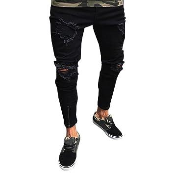 1b308ee896 LuckyGirls Pantalones Vaqueros Hombres Rotos Pitillo Originales Slim Fit Skinny  Pantalones Casuales Elasticos Agujero Pantalón Personalidad Jeans con ...