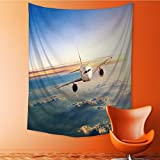 Vanfan Art Hippie Tapestry commercial airplane flying above clouds in dramatic sunset light Bedspread Picnic Bedsheet Tapestry 40W x 60L Inch