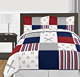 Sweet Jojo Designs Red, White and Blue Baseball Patch Sports Boy Full/Queen Kid Teen Bedding Comforter Set-3 Pieces-Grey Patchwork Stripe