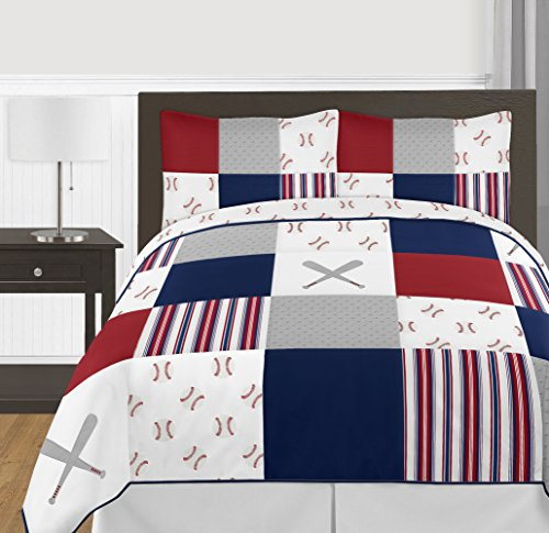 (Sweet Jojo Designs Red, White and Blue Baseball Patch Sports Boy Full/Queen Kid Teen Bedding Comforter Set - 3 Pieces - Grey Patchwork Stripe)