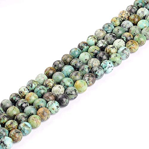 6mm Natural African Turquoise Round Semi Precious Gemstone Loose Stone Beads for Jewelry Making Strand 15 Inch (63-66pcs)
