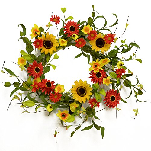 Red and Gold Sunflower Wreath