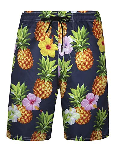 APTRO Men's Quick Dry Swim Trunks with Pockets Long Elastic Waistband Beach Board Shorts Bathing Suits (XXXL, Pineapple with mesh) (Mens Pajama Tops Xxxl)