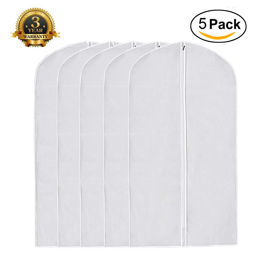 Garment Bag Pack of 5, Full Zipper Dust Suit Cover Breathable White Garment Clothes Bags (5, CLEAR)