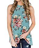 Podlily Women Floral Print O Neck Back Cutout Sleeveless High Low Feminine Tank Top Tee Medium Light Blue
