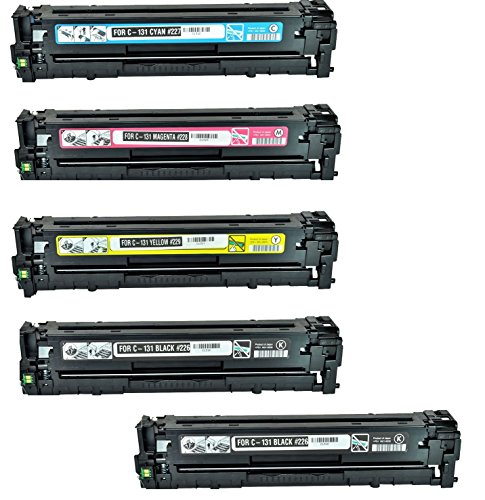Calitoner Compatible Toner Cartridges Replacement For Canon 131 Set of 5 (2 Black / 1 Cyan / 1 Magenta / 1 Yellow) Use for Canon ImageClass LBP7110Cw MF624Cw MF628Cw MF8280Cw Printer