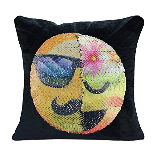 GUIGU Emoji Pillow Case Velvet Changeable Face Reversible Sequin Cushion Cover DIY Decorative Pillowcase for Sofa Home Decor 16 X 16(Gentleman and Lady) (Sofa Cushion Covers Diy)