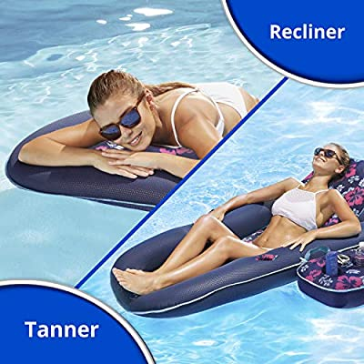 AQUA Campania Ultimate 2 in 1 Recliner & Tanner Pool Lounger with Adjustable Backrest and Caddy, Inflatable Pool Float, Teal Hibiscus: Toys & Games