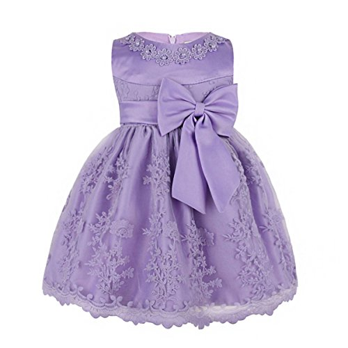 TiaoBug Baby Girls Floral Embroidered Big Bow Princess Wedding Pageant Party Dress Light Purple 9-12Months]()