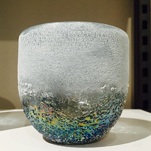 Whole House Worlds The Cape Cod Sparkling Sea Hurricane Candle Holder, Art Glass, Iridescent Transitional Tones, Hand Blown Wind Light, Textured Glass, 4 H x 4 D Inches, By -