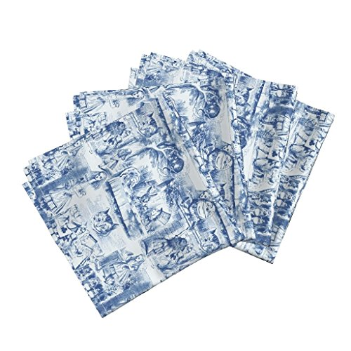 (Roostery Alice Tea Wonderland Toile Blue and White Blue Tenniel Linen Cotton Dinner Napkins Curiouser and Curiouser! an by Peacoquettedesigns Set of 4 Dinner)