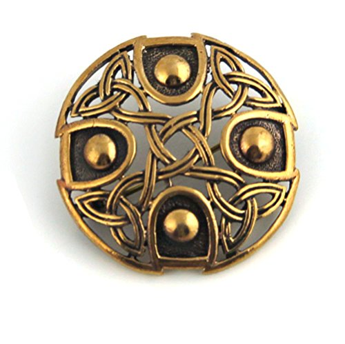 Free Pin Ship Brooch (Bronze Gold Viking Shield Brooches,Clothes Fasteners - Cloak, Shawl, Scarf Pin, Celtic Irish Norse Vintage Jewelry (Brooch.))