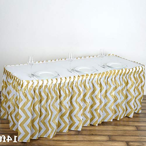 Mikash 14 ft x 29 Plastic Chevron Disposable Table Skirt Party Wedding Decorations | Model WDDNGDCRTN - 15062 ()