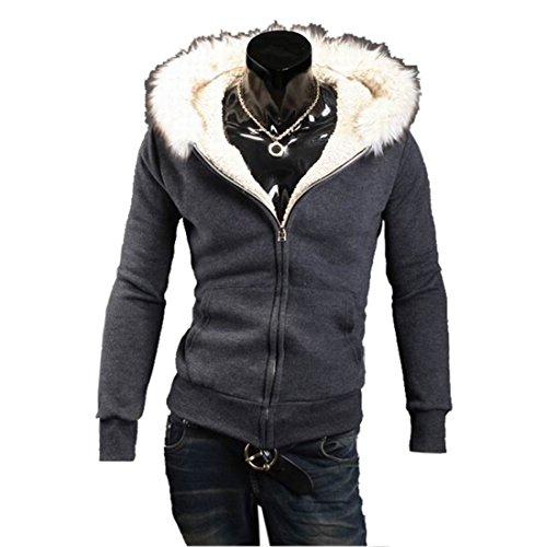 Partiss Mens Faux Fur Hoodie, Medium, Dark Gray