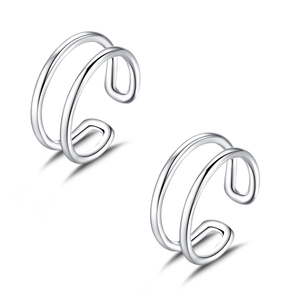 Double Row Ear Cuff in Sterling Silver Rhodium Plated Set of 2