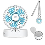 MOMAX Mini Handheld Fan with Cosmetic Mirror for Summer Cooling and Make Up - Cute USB Rechargeable Personal Necklace Fan,3 Adjustable Speeds, Perfect for Indoor or Outdoor Activities (White)