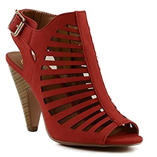 6a4896c210f4 Delicious Shaky Womens Cut Out Strappy Buckle Sling Back Chunky High Heel  Sandals