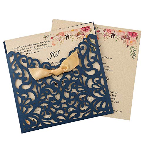 Doris Home 50pcs Blue Square Laser Cut Wedding Invitation Cards Kit with Hollow Flora Favors
