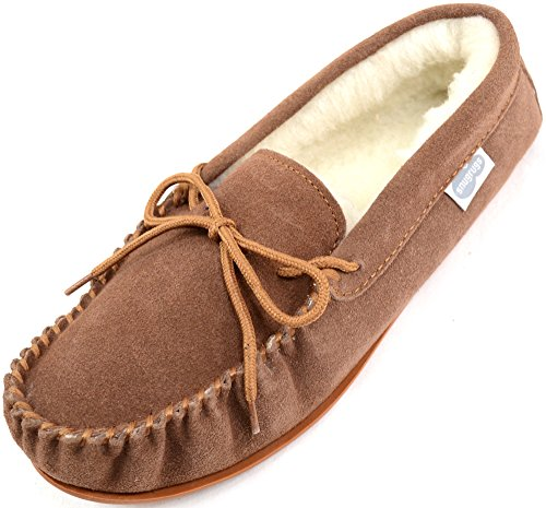Suede SNUGRUGS Pantofole Moccasin with Wool Sole Light Uomo Brown Brown Rubber Lined FxfUrEqWwx