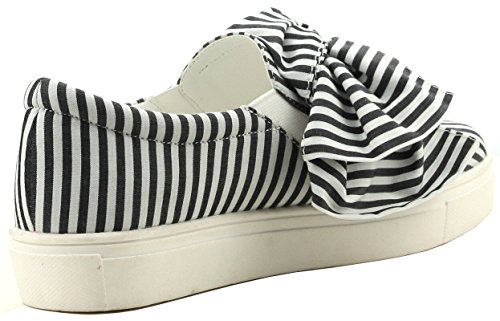 On ROBBIN Black Bow CAPE Women's Fashion Slip Seersucker Sneaker U4qRfpX